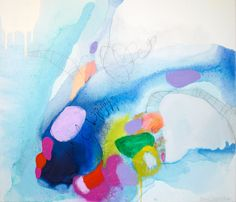 """Coming Up for Air"" by Claire Desjardins. 24.5""x28"", acrylics, charcoal and graphite on canvas."