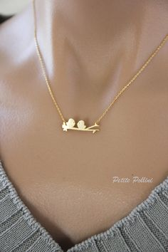 Love birds Necklace in Matt Silver/ Gold. Love.