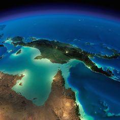 Terra vista do espaço                          Nova Guiné e Norte da Austrália