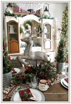 French Country Farmhouse Christmas Dining Room-Deer-Centerpiece-From My Front Porch To Yours