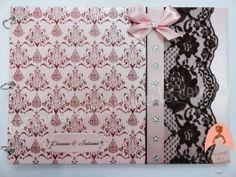 Livro de assinaturas marrom e rosa