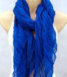 The pure color 2012 new cotton drape scarf, sapphire blue leisure scarf, neck bag. $13.00, via Etsy.