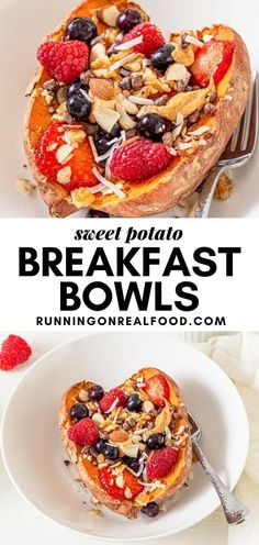 These vegan sweet potato breakfast bowls are an amazing way to start the day! To make them, simple bake a sweet potato, add your toppings and enjoy for a healthy breakfast or snack.