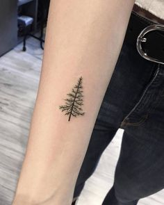 Pine tree tattoo on the right inner forearm.