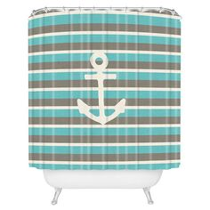 DENY Designs shower curtain with an anchor motif.    Product: Shower curtainConstruction Material: 100% Polyester...