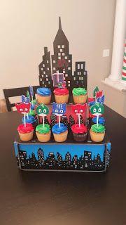 Risultati immagini per pj masks cake Superhero Birthday Party, 4th Birthday Parties, 5th Birthday, Pjmask Party, Party Ideas, Pj Mask Cupcakes, Fete Emma, Festa Pj Masks, Birthdays