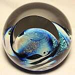 Planet because of the vast oceans and is actually the planet Earth. It appears to float like a beautiful sphere giving us a sense of place in the universe. Layers Of Atmosphere, The Blue Planet, Sense Of Place, Glass Marbles, Glass Paperweights, Glass Design, Paper Weights, Handmade Art, Colored Glass
