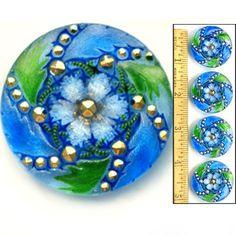 Czech Glass 3-D BLUE GREEN SPIRAL LACE FLOWER Buttons W/Gold Nailhead