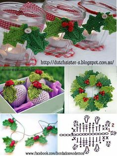 Learn to knit and Crochet with Jeanette: Father christmas Crochet Christmas Decorations, Christmas Crochet Patterns, Crochet Christmas Ornaments, Crochet Decoration, Holiday Crochet, Christmas Wreaths, Crochet Leaf Patterns, Crochet Leaves, Crochet Flowers