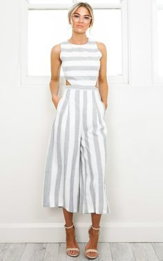 Out Dream Yourself jumpsuit in greystripe  SHOWPO Fashion Online
