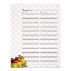 Recipe Page for Fruits & Veges Recipe Binder - 2C #binderpage #specialtybinderpage #recipe #recipebook #recipebinder #retro #fruit #recipepage #vegetable