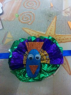 Peacock rakhi made from toffee wrapers