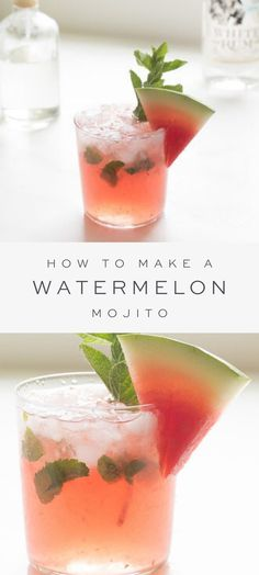 A refreshing Watermelon Mojito recipe with fresh watermelon juice and simple syrup muddled with mint for an incredible easy summer cocktail. Cocktail Sauce, Cocktail Drinks, Fun Drinks, Cocktail Movie, Cocktail Attire, Cocktail Shaker, Cocktail Dresses, Cocktail With Mint, Best Bar Drinks