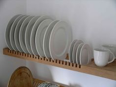 kitchen plate rack is an extension of the solid beech shelf