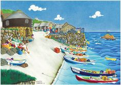 'Sennen Cove' found in Cornwall. One of Nanette Martin's quirky and slightly surreal pictures sold in print form by Cornwall Art Galleries for £15 + P&P. #Cornwall #art #prints
