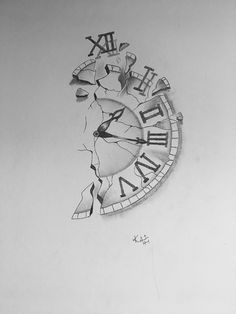 Pencil Arr an der Wand - zeichnungen Wall Clock Drawing, Clock Drawings, Pencil Art Drawings, Art Drawings Sketches, Tattoo Sketches, Tattoo Drawings, Wolf Tatoo, Tattoo Pencil, Clock Tattoo Design
