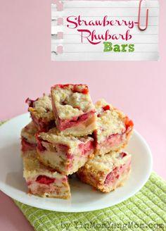 Strawberry Rhubarb Bars, made with Strawberry 0% Chobani Greek Yogurt! Mmmm, rhubarb. (via @Shelley Parker Herke corona YangMom Allie)