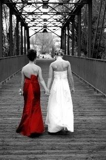 bride and maid of honor- it doesn't have to be with their backs to us but I like the idea of the black and white and then color of the bridesmaid dress standing out. creative!