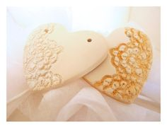 french lace clay hearts