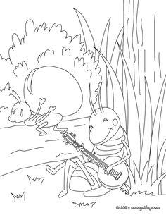 Dibujo para colorear : Cuento LA CIGARRA Y LA HORMIGA