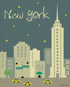 Cute Drawing of Empire State Building in New York City, Manhattan Art Poster Print (2 color schemes).