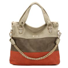 PROMOTION!! free shipping Oppo women's handbag casual color block decoration chain bags laptop messenger bag shoulder bag $70.99