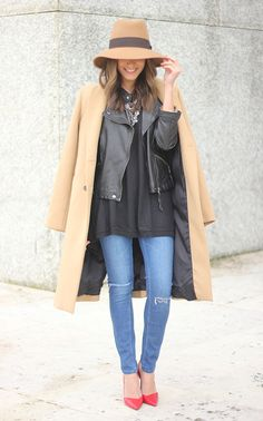 Camel Coat, leather jacket, layers + hat + pop of color shoes