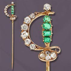 Victorian Emerald, Diamond & Yellow Gold Sword Stickpin.