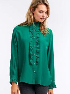 78219b01f66 Silk ruffle blouse. Green ...