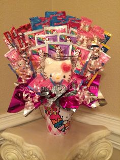 I LOVE THIS ONE! Large, Non-Chocolate, Deluxe Hello Kitty Candy Bouquet by Sweet Intentions, LLC. $45.00. SweetIntentionsLLC.com coming soon and https://www.facebook.com/SweetIntentionsLLC.