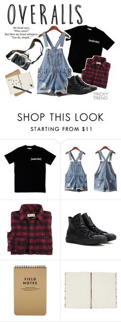 """""""Tricky Trend : Overalls"""" by charlottewright3 ❤ liked on Polyvore featuring Illustrated People, Isadora, Converse, Eos, TrickyTrend and overalls"""