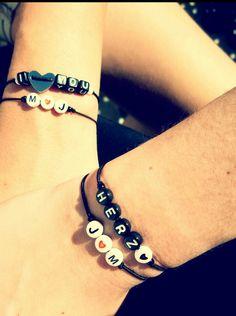 Buchstabenperlen #iLoveYou #Herz #Liebe #perlen #armband #diy