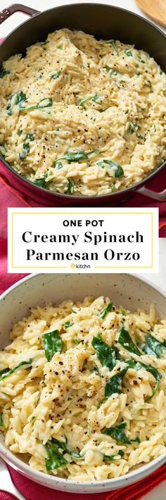 One Pot, Pan, or Dish Creamy Spinach, Parmesan & Orzo Pasta Recipe. Need recipes and ideas for easy weeknight dinners and meals? Vegetarian and perfect for a side dish or a main dish. To make this modern comfort food, you'll need: olive oil, onion, garlic, orzo, chicken or veggie/vegetable broth, milk, baby spinach or other greens, parm cheese. #Mainmealsforvegetarians