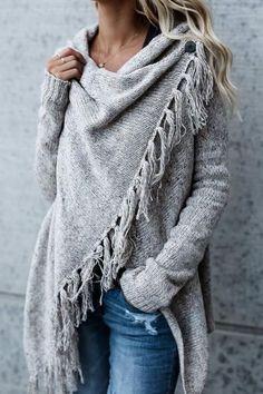 grey knit cardigan with fringe details
