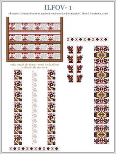 Semne Cusute: MUNTENIA - model de ie din Ilfov Folk Embroidery, Embroidery Patterns, Cross Stitch Patterns, Knitting Patterns, Loom Beading, Beading Patterns, Romanian Lace, Pixel Art, Diy And Crafts