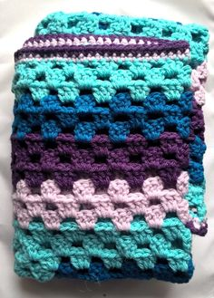 Check out this item in my Etsy shop https://www.etsy.com/listing/510129079/crochet-baby-blanket-purple-and-blues