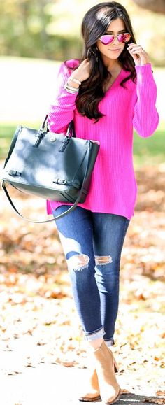 Bright Pink Sweater Fall Inspo by The Sweetest Thing