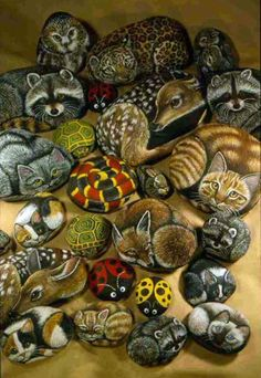 Hand Painted Rocks Stones - A forest collection of wildlife