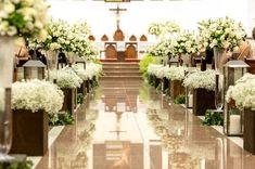 Arranjos de flores para decoração da igreja - casamento rústico-chique