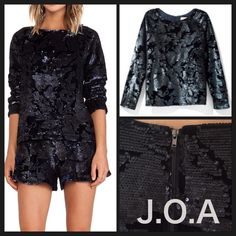 ❤️ Gorgeous J.O.A. Sequin Velvet Top New❤️ ❤️ Super Cute JOA Sequin Velvet Top Navy. Exposed center back zipper, Sequined throughout, Lined. Size Medium fits 6-8. Looks great with jeans and more love this top❤️❤️❤️ Anthropologie Tops