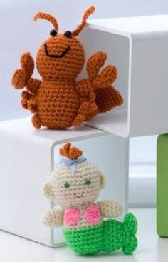 Crochet Little Lobster & Baby Mermaid free crochet pattern by Red Heart Yarns