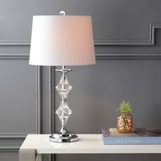 """Madison 27.5"""" Crystal LED Table Lamp, Clear/Chrome (Set of 2) by JONATHAN Y 