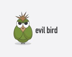 Evil Bird Logo design - A unique illustrated logo... It can be used for pet or animal related businesses but can simply be used as a logo with a mascot for any type of business...