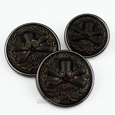 12kpl Crossbones Skull Carving pyöreä varsi Painikkeet Overcoat 25mm / 40L 30mm / 45L