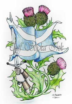 Image detail for -Scottish based tattoo design. Dad Tattoos, I Tattoo, Cool Tattoos, Tatoos, Scottish Thistle Tattoo, Scottish Tattoos, Scottish Flowers, Wallace Monument, Celtic Tribal