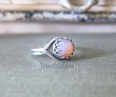 Opal Ring Silver Ring Pink Fire Opal Ring Sterling by Jewelsalem