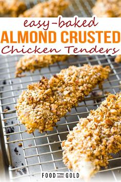 #ad This almond-crusted chicken recipe is sponsored by Safeway. All opinions are my own. Thank you for supporting the brands that keep Food Above Gold working. These baked chicken tenders are crusted with almonds for a crispy coating. They make a great gluten-free alternative to chicken nuggets, while still being real food for adults. | @foodabovegold #healthychickentenders #easychickentendersrecipe #kidsrecipes #quicksummerdinner Chicken Tender Recipes, Healthy Chicken Recipes, Real Food Recipes, Baked Chicken Recipe For Kids, Healthy Baked Chicken Tenders, Turkey Recipes, Easy Recipes, Healthy Food, Cooked Chicken