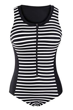 d71d643a020 Shawhuwa Womens Sexy Striped Sleeveless Rashguard One Piece Swimsuit XXL  Black     You can