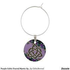 Purple Celtic Fractal Mystic Symbols Wine Glass Charm