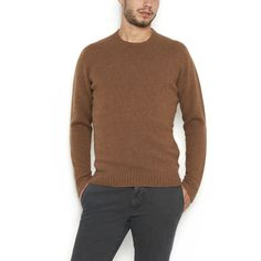 ZANONE Wool Crew Neck Sweater (12.300 RUB) ❤ liked on Polyvore featuring men's fashion, men's clothing, men's sweaters, mens woolen sweaters, mens brown sweater, men's wool crew neck sweaters, mens wool sweaters and mens crewneck sweaters